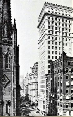 That is Richard Upjohn's 1846 Trinity Church at the foot of Wall Street.