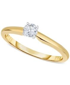 Engagement Ring, Certified Diamond (1/3 ct. t.w.) and 14k White or Yellow Gold  - Yellow Gold