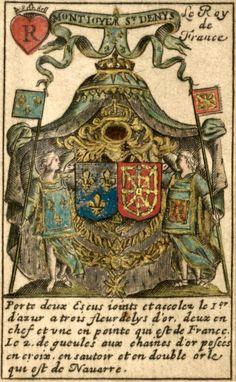 """Playing Card (King of Hearts) with the Arms of the Bourbon Kings of France, anonymous French [?Finé dit de Brianville """"Jeu d'armoiries des souverains et états d'Europe»], 17th century -- «Montioye St Denys / Le Roy de France / Porte deux Escus ioints et accolez le I.er d'azur a trois fleurs de lys d'or, deux en chef et une en pointe qui est de France. Le 2. de gueules aux chaines d'or posées en croix, en sautoir et en double orle qui est de Navarre.»"""