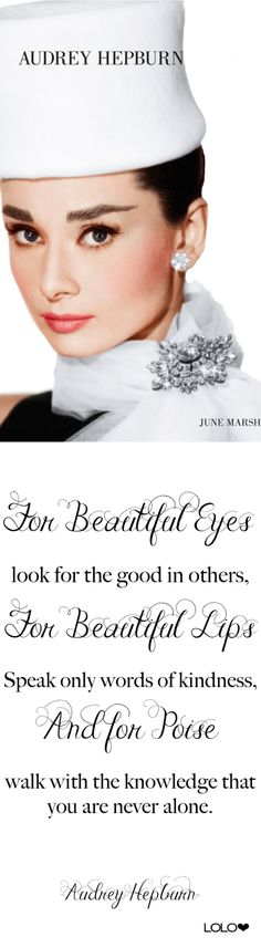 Audrey Hepburn in Hats by June Marsh, quote sourced | LOLO❤