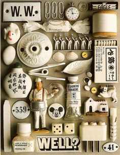 white collage by guido cecere Collage Kunst, Collage Art, Collections Of Objects, Displaying Collections, Rembrandt Drawings, Things Organized Neatly, Inspiration Artistique, Color Studies, Assemblage Art