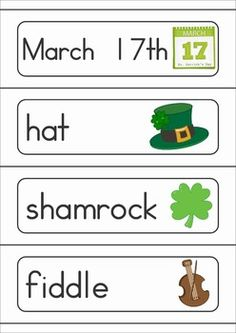 St. Patrick's Day Vocabulary Word Wall. Includes a personal word wall for students, a file-folder word wall for the writing or word work center and large cards for the classroom wall in color and black and white.