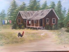 Country Scene featuring old house with rooster in by JosLagniappe,