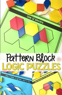 This set of interactive pattern block logic puzzles will have kids begging for more! Easy to use, these brain teasers are a great math center that will keep kids engaged while improving your students' skills needed to solve logic tasks as well as developing their visual discrimination skills.These puzzles are perfect to help your students learn to persevere through challenging tasks.