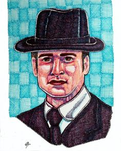 Suzanne Berton (©2014 suzanne-berton.com) Murdoch William Detective uses fine markers on watercolor paper unframed