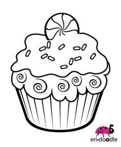 Christmas peppermint cupcake digistamp digi stamp for scrapbooking or cards Cupcake Coloring Pages, Food Coloring Pages, Coloring Pages For Kids, Coloring Books, Cupcake Crafts, Cupcake Art, Embroidery Applique, Cross Stitch Embroidery, Embroidery Patterns