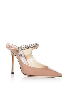 Jimmy Choo Women's Bing 100 Embellished High-heel Mules In Ballet Pink Patent Leather High Heel Mule Shoes, High Heels, Mules Shoes, Shoes Sandals, Red Stiletto Heels, Red Bottom Heels, Cinderella Shoes, Princess Shoes, Jimmy Choo Shoes