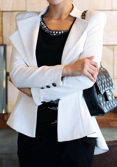 Double Lapel Fit-and-flare #Blazer - #White #peplum