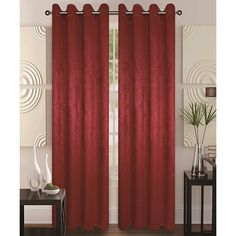 Glory Home Designs Burgundy Energy-Saving Blackout Curtain Panel (2.100 RUB) ❤ liked on Polyvore featuring home, home decor, window treatments, curtains, grommet window panels, blackout curtains, grommet curtain panels, grommet curtains and polyester curtains