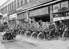 Circa 1922, Los Angeles, California -- Speed demons beware... the Los Angeles motor corps with their new fleet of Indian motorcycles all ready and waiting to set out after Californian motorists who like to step on the gas.