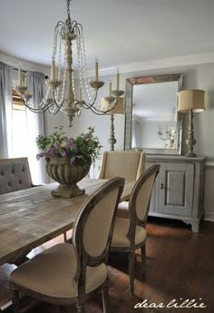 Dining Room with Plush Chairs and Credenza