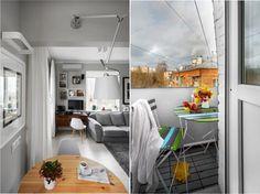 Дизайн кухни в однокомнатной квартире в хрущевке - вид на гостиную и балкон