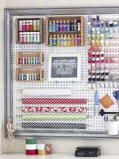 Home Hack: 10 Stylish Ways to Organize the Chaos - simple tricks to organize the chaos // craft room peg board - Sewing Room Organization, Craft Room Storage, Storage Ideas, Craft Rooms, Diy Storage, Organization Ideas, Thread Storage, Pegboard Craft Room, Pantry Storage