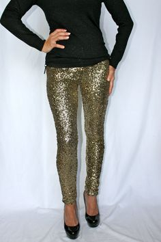 BACK IN STOCK FOR THE HOLIDAYS!  Sexy Sequin Skinny Stiletto Back Zip Pants Jeans Antique Gold or Black | eBay