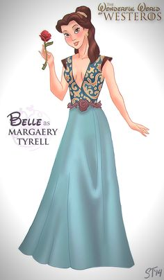 Belle as Game of Thrones character. It seems like it's been awhile since we've seen Disney characters reimagined as anything, so here's a series created by Sam Tsui of them as characters from Game of Thrones. Walt Disney, Disney Pixar, Disney Fan Art, Disney And Dreamworks, Disney Cartoons, Disney Characters, Disney Animation, Disney Parody, Disney Cast