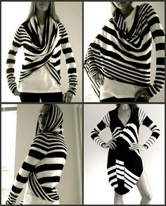 I love the versatility of this striped cardigan, four ways to wear one piece of clothing - I wish I could find it!