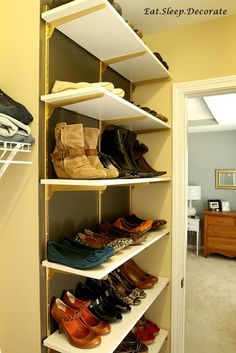 Eat. Sleep. Decorate.: {DIY} Home Depot Shelves Turned Shoe Organization. Metallic gold spray paint on metal track shelves.