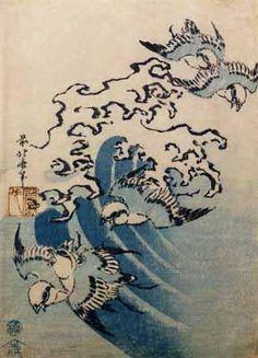 Katsushika Hokusai - Waves and Birds