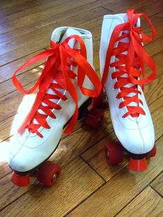 Funky Vintage Red and White Roller Skates.