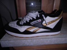 Reebok Mens Classics Nylon Shoes in White Black and Gold Minty and Size 13 | eBay