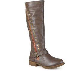 Brinley Co. Womens Zipper Studded Riding Boots, Women's, Size: 6, Brown