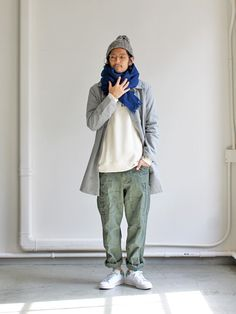 maillot wool cotton fw coat (ウールコットンコート) MAO-033 Strato Olive fatigues, indigo blue scarf