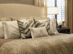 Neutral bedroom - nailhead trim headboard    http://www.cuphalffull-sf.blogspot.com/#