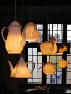 teapot lights, a total MUST HAVE for the tea shop or dreamy tea room in the home! Luminaire Original, Pot Lights, Window Lights, Hanging Lights, Floating Lights, Diy Hanging, Lampshades, Lighting Design, Lighting Ideas