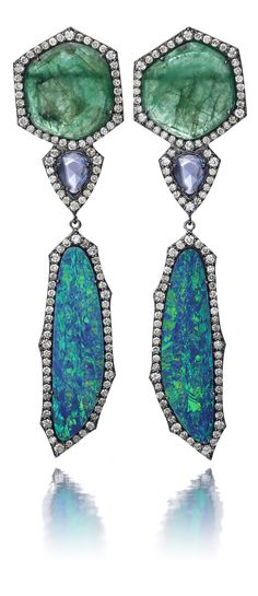 HAMILTON'S GEMSTONE COLLECTION.  Handmade earrings set in 18k white gold with black rhodium finish.  Blue opal, emerald, tanzanite & diamonds.