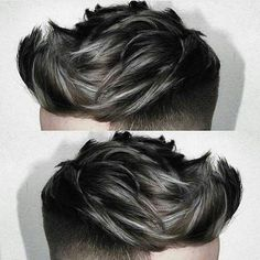 Check out ✔ and choose your hairstyle - Love the colour and the Texture! Grey Hair Color Men, Silver Hair Men, Hair And Beard Styles, Long Hair Styles, Silver Hair Highlights, Hairstyles Haircuts, Haircuts For Men, Dyed Hair Men, Great Hair
