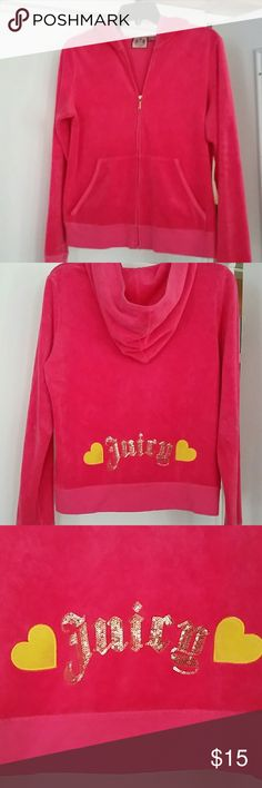 "🌟Juicy zip up hoodie🌟 Juicy Couture Pink zippered hoodie in GUC. This is a reposh, I normally would wear a large or XL and this is too small, won't zip on me. I think it's a juniors XL or maybe it runs small. Only flaw I see is on the pocket but not obvious at all. Please look over the pics and ask questions! The ""juicy"" on back is perfect no sequins missing! 🚫From non smoking and pet free home Juicy Couture Tops Sweatshirts & Hoodies"