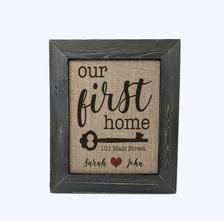 OUR FIRST HOME: Personalized Burlap Print Custom Name Print | Etsy