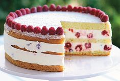 Raspberry Lemon Cream Cake:  Tender sponge cake holds layers of fresh raspberries in a creamy lemon filling for this make-ahead dessert.