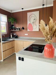 Open Plan Kitchen Living Room, Boho Kitchen, New Kitchen, Kitchen Island, Modern Farmhouse Kitchens, Farmhouse Kitchen Decor, Cool Kitchens, Home Interior, Kitchen Interior