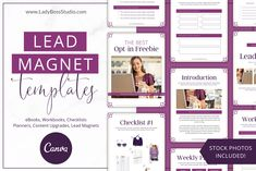 Plum Lead Magnet & Freebie Templates for Canva Work Planner, Planner Pages, Branding Kit, Business Branding, Title Page Template, Table Of Contents Page, Lead Magnet, Checklist Template, Indesign Templates