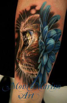 Awesome realistic kitten tattoo by Moni Marino.