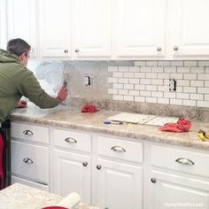 Yesterday I gave you a tour of our updated kitchen but today I'm giving you a little peek behind the scenes of our white subway tile backsplash. We actually decided to DIY, our first ever tile project. Totally worth it? Bigger yes. Backsplash Tile Design, Kitchen Backsplash, White Subway Tile, Diy Kitchen Backsplash, Kitchen Tiles Backsplash, Kitchen Backsplash Tile Designs, White Kitchen Backsplash, Backsplash Cheap, Farmhouse Backsplash
