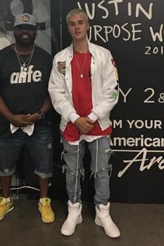 Justin Bieber wearing Supreme x the North Face Steep Tech T-Shirt in Red
