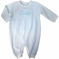 Boy's Blue And White Layette Baby Infant Gown By Paty, Inc.