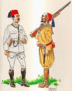 Grupo de Regulares de Tetuán Nº 1 1911 Oficial y Cabo