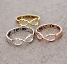 Best Friend Infinity ring with twisted band in Gold / White Gold / Rose Gold Col - Bestfriend Shirts - Ideas of Bestfriend Shirts - Best Friend Infinity ring with twisted band in Gold / White Gold / Rose Gold Color on Wanelo Bff Necklaces, Best Friend Necklaces, Best Friend Jewelry, Bff Bracelets, Bff Shirts, Bff Rings, Cute Rings, Bestie Gifts, Gifts For Friends