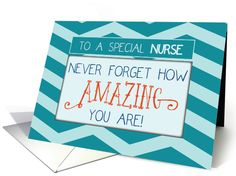 On Nurses Day, let a special nurse know how amazing they really are! This is a trendy and fun card with teal chevon stripes, just perfect for any man or woman nurse to celebrate nurses day by Sandra Rose Designs