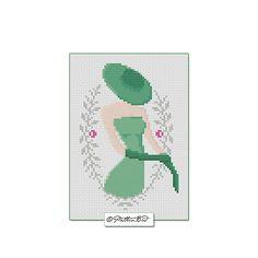 Vintage Woman VII. Instant Download PDF Cross Stitch Pattern