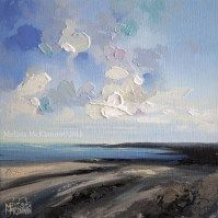 Colourful Contemporary Art Ocean Beach Abstract Landscape Painting by Canadian Artist Painter Melissa McKinnon Dreaming Of Being Seaside