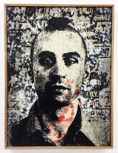 """Greg Gossel - """"Travis Bickle"""" Collage, acrylic, enamel, and silkscreen ink on canvas 24"""" x 32"""" 2013 $3100.00 This artwork was created for """"Scorsese: an art show tribute"""" an art show exhibition of fan"""