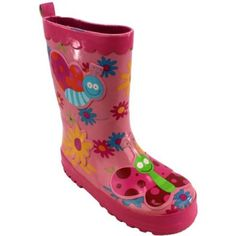 """Butterflies"" Pink Rain Boots 7/8-2/3 (9/10) Unknown. $17.99"