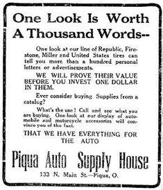 1913 Piqua Ohio Advertisement - One Look Is Worth a Thousand Words - A picture is worth a thousand words - Wikipedia