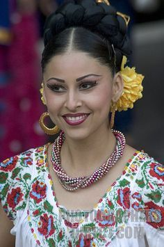 Mexican Woman Flaunting Wearing Made Jewelry Traditional Dress Costumes
