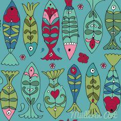 Folk Art Flowers, Flower Art, Fish Drawings, Art Drawings, Children's Book Illustration, Illustrations, Sharpie Projects, Fish Template, Posca Art