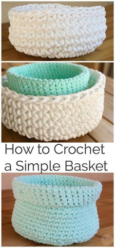crochet bowl Hey Everyone! Today I'd like to show you how to make this easy crochet basket. Crochet Bowl, Crochet Diy, Easy Crochet Projects, Crochet Gifts, Crochet Ideas, Learn Crochet, Simple Crochet Patterns, Easy Patterns, Crochet Chain